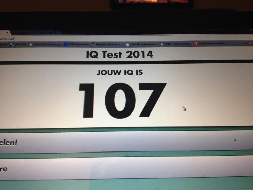 IQ 107..het had slechter kunnen aflopen. Gelukkig zijn scoort hoger