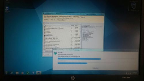 er wordt nog steeds hard gewerkt aan het installeren van het Duitse boekhoudprogramma. Bitteschön..