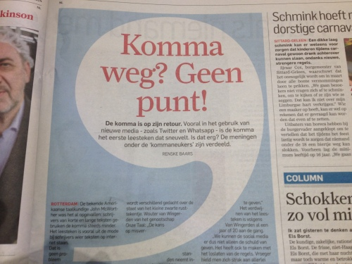 Niet alleen de komma verdwijnt, onze geschreven taal bevat steeds vaker afkortingen, Engelse woorden en fouten. Nederlands wordt een allegaartje.