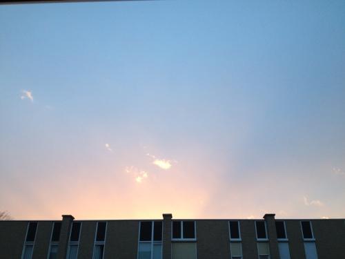 Nog een keer lucht. Nu de magische kleur van de ondergaande zon. De overburen  gaan eerdaags vast vragen stellen. Voor vandaag hou ik het voor gezien.