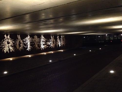 Saaie tunnels mooi belicht.