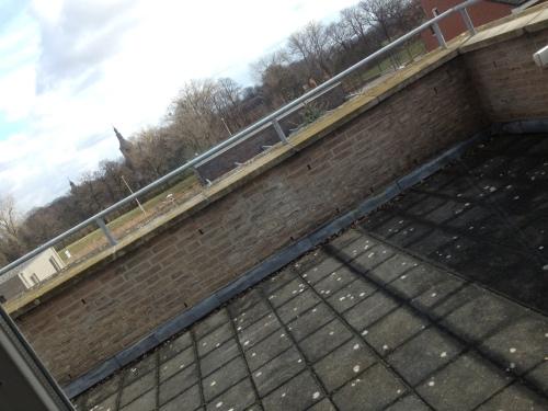 De vraag is wat we met dit terras gaan doen. Ik zie een houten vloer, giga plantenbakken en een hangmat.