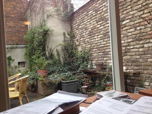 Dit zie ik als ik naar buiten kijk. Oude muren en groen, groener, groenst