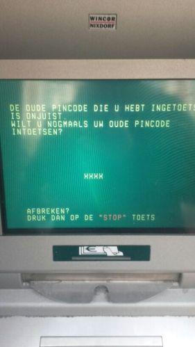 Pincode vervangen werkt niet. Fout in het systeem volgens de man aan de telefoon. Wordt naarstig aan gewerkt.