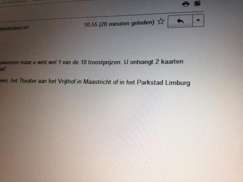 Een troostprijs.  Twee kaartjes voor een concert van Philharmonie Zuid Nederland voor de prijs van een.