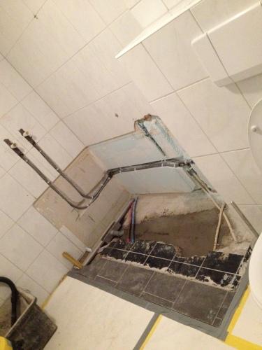 Renovatie update...douchen kan niet meer, 'k zou niet weten hoe..