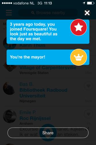 Stelletje vleiers daar bij Foursquare..