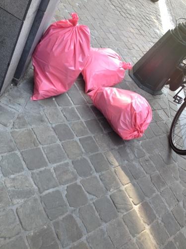Ik zie ik zie...roze vuilniszakken