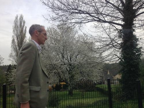 Ik wilde de boom vastleggen maar trof de man. Vaste klant, vreemde vogel. Krijgt het telkens voor elkaar om in Maastricht als een van de eerste in de trein te stappen. Zitplaats gegarandeerd, tot in Houthem -St.Gerlach, daar stapt hij uit