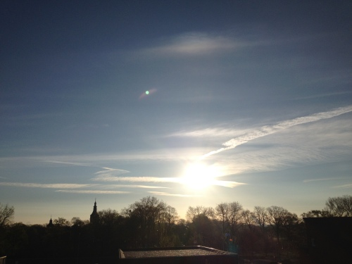 Zoals gewoonlijk bekijk ik de zonsopgang even vanaf het balkon.