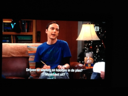 TV kijken, na het journaal The Big bang Theory . Ik ben een fan van Sheldon.
