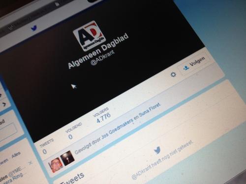 Zoeken naar een manier om in contact te komen met het AD. Via twitter? Nou nee, twitter wordt alleen gebruikt om te zenden.