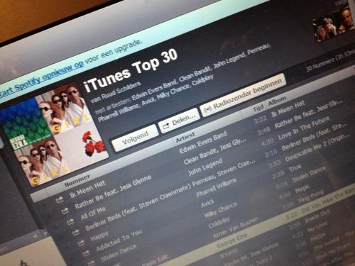 de iTunes top 30 beluisteren op Spotify...mooi!