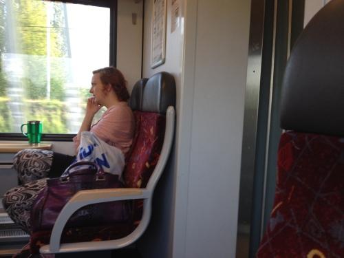Ze heeft de hele reis aan de telefoon gehangen en ja, de tassen hadden ook een kaartje