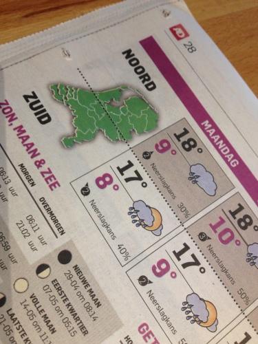 Volgens de krant gaat het regenen vandaag. Ik ben niet helemaal tegen