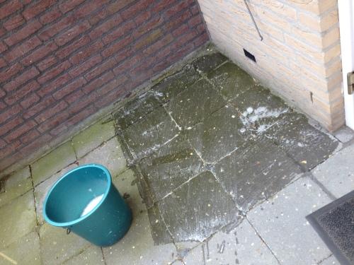 Groene aanslag verwijderen, niet milieuvriendelijk maar wel effectief...water en chloor