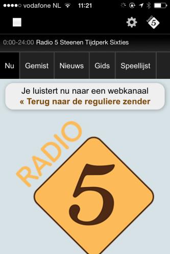 Handig, zo'n radio 5 app op je mobiel. Altijd muziek onder handbereik