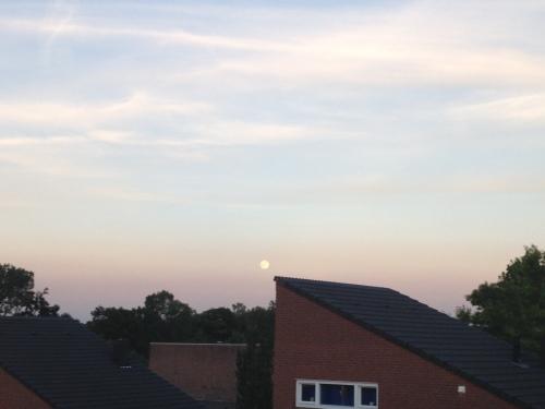 Oh jee, zelfs de maan staat al aan de hemel. Het is weer genoeg geweest. Dag dag, tot morgen