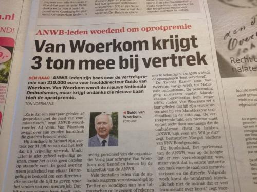 Om niet nader bekend gemaakte redenen moeten vertrekken bij je werkgever, 3 ton mee krijgen en dan meteen de functie van Ombudsman in je zak steken. Alleen in Nederland dames en heren.