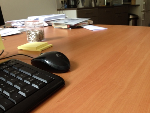 Aan het einde van de middag is mijn bureau leeg